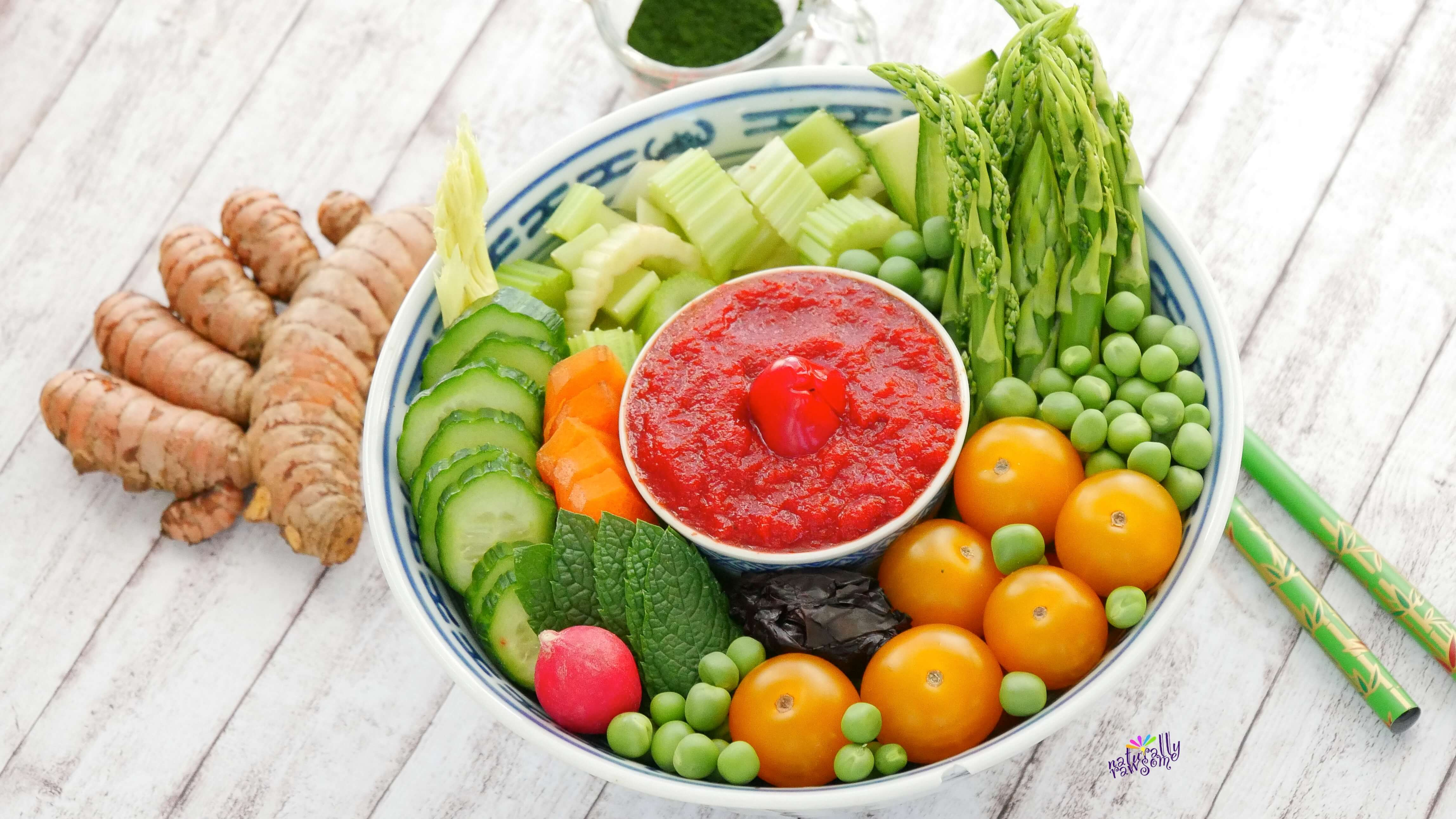 Buddha Bowl with Sweet Pepper Dip