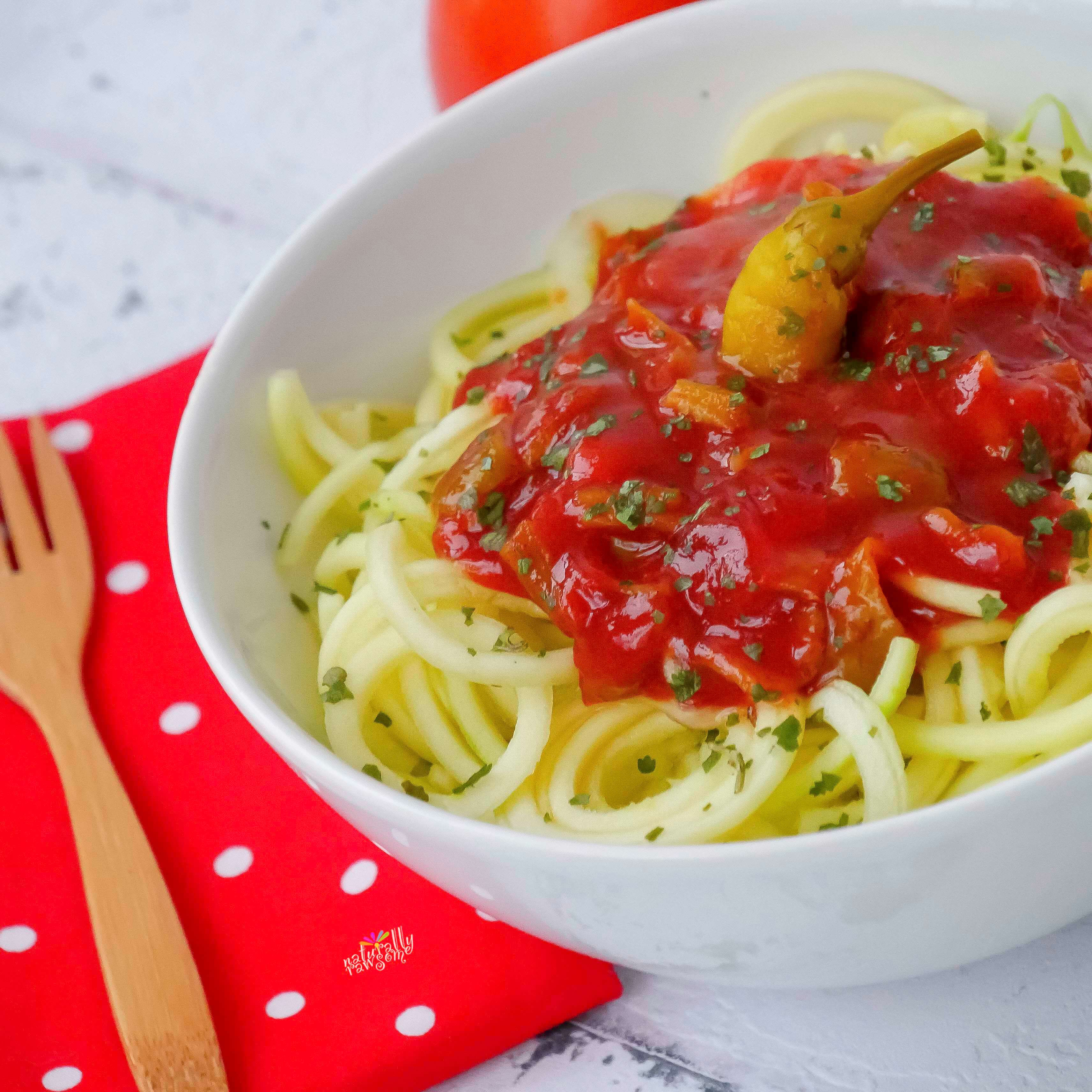 Spicy Sweet Tomato Zoodles